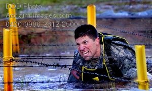 Free Public Domain Picture: Soldier Crawling Under Barbed Wire For The Best Ranger Competition