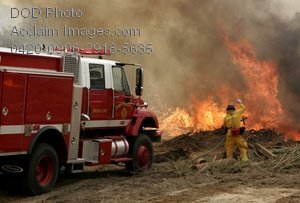 Free Public Domain Picture: Firefighter Putting Out a Brush Fire-Camp Pendleton CA
