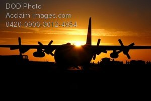 Free Public Domain Picture: C-130 Hercules Aircraft at Sunset