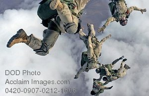 Clipart Stock Photo: Military Skydivers Jumping From a Plane