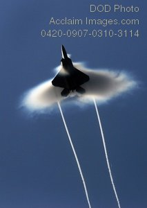 Free Public Domain Picture: Miltary Jet Breaks the Sound Barrier With Visible Evidence