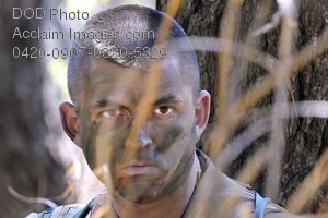 Free Public Domain Picture: Soldier, Wearing Face Camouflage, Listens To His Surroundings