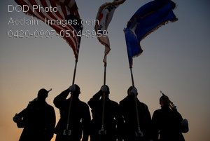 Free Public Domain Picture: Air Force Airmen Performing Honor Duties at Dusk