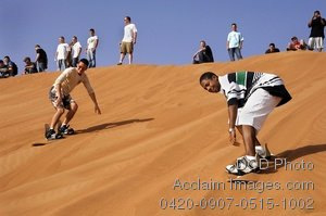 Free Public Domain Picture: American Sailors Sandboarding While on a USO Sponsored Tour