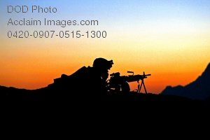 Free Public Domain Picture: Military Sniper With His Weapon Providing Security at Sunset In Afghanistan
