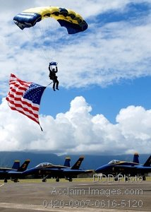 Free Public Domain Picture: U.S. Navy Parachute Demonstration Team Member Landing With an American Flag