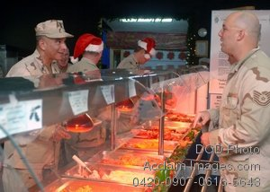 Free Public Domain Picture: Soldiers In Line To Get Christmas Dinner In the Mess Hall