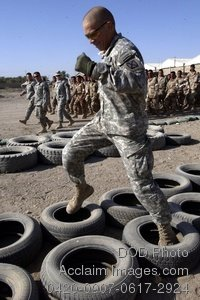 Free Public Domain Picture: American Soldier Demonstrating Obstacle Course Maneuvers For Iraqi Army Soldiers