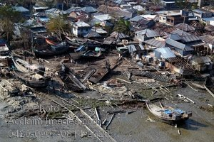 Free Public Domain Picture: Aerial View of Destruction of a Village In Bangladesh After Tropical Cyclone Sidr