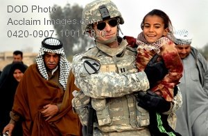 Free Public Domain Picture: Soldier Taking an Iraqi Girl To the Taji Sports Complex For Medical Attention