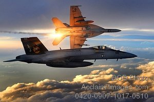 Free Public Domain Picture: Beautiful Shot of Two Navy Super Hornets Flying Combat Patrol at Sunrise