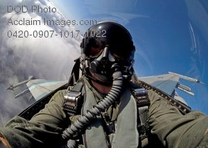 Free Public Domain Picture: Frontal View of a Pilot In the Cockpit of His F-16 Fighting Falcon Jet