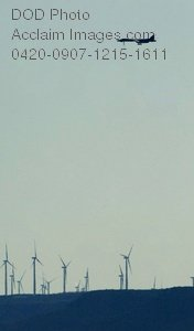 Free Public Domain Picture: B-1B Lancer Flying Over a Wind Farm