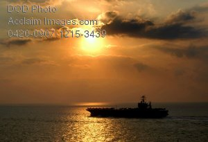 Free Public Domain Picture: Aircraft Carrier USS Harry S. Truman In the Straits of Gibraltar at Sunset Photo
