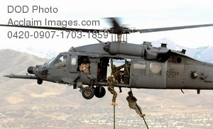 Free Public Domain Picture: Soldiers Being Lifted on Board an HH-60 Pave Hawk Helicopter During Training Photo