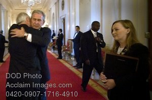 Free Public Domain Picture: George W. Bush Embracing the Father of a Fallen Soldier Photo