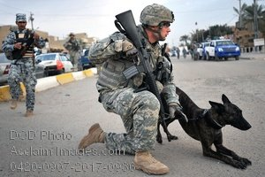 Free Public Domain Picture: Military Police Dog Handler and His Dog Photo