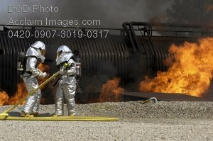 Free Public Domain Picture: Civil Engineer Firefighters Putting Out a Fire Photo