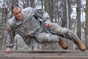 Free Clip Art Picture: Army Soldier Navigating an Obstacle Course