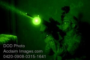 Free Clip Art Picture: Army Soldier Guarding His Fellow Soldiers Using Night Vision