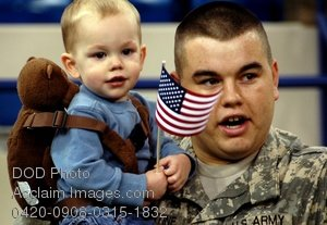 Free Public Domain Picture: Army Soldier Holding His Son at Departure Ceremony Photo