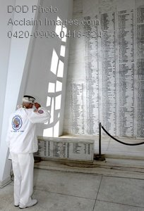 Free Public Domain Picture: Old Soldier Saluting the Names on the Wall of the USS Arizona Memorial Photo
