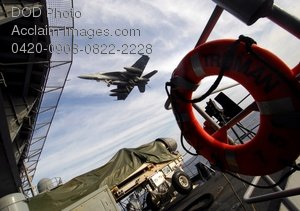 Free Clip Art Picture: Military Jet, F/A-18 Hornet, Landing on an Aircraft Carrier Photo