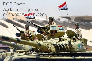 Free Public Domain Picture: Iraqi Soldiers Aboard  Armoured Tanks Photo