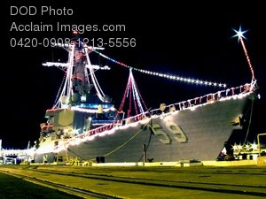 Free Public Domain Picture: Guided Missile Destroyer, USS Russell, Lit Up With Holiday Lights Photo