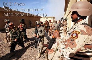 Free Public Domain Picture: Iraqi Army General Walking With Aids Photo