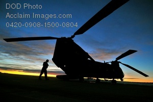Free Public Domain Picture: CH-47D Chinook Helicopter at Sunrise Photo