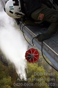 Free Public Domain Picture: Military Firefighter Dropping Water Bombs on a Wildfire From a Helicopter Photo