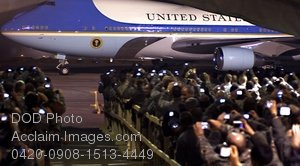 Free Public Domain Picture: Members of the Press Waiting For Air Force One to Land