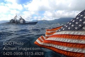 Free Public Domain Picture: American Flag Flying Behind a Navy Ship In the Ocean Photo