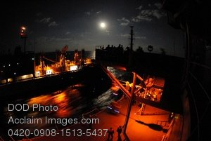 Free Public Domain Picture: The USS Blue Ridge and the USNS San Jose Support Ship Replenishing Supplies at Night Photo