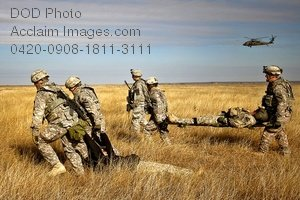 Free Public Domain Picture: Soldiers Moving Wounded Men Through Tall Grass Photo