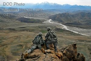 Free Public Domain Picture: Two Soldiers Keeping Watch on a Rock Above a Valley, Afghanistan Photo