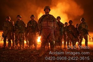 Free Public Domain Picture: Group of New Blackhawk Warrior Soldiers Standing In Front of a Ceremonial Bonfire Photo