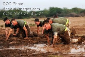Free Public Domain Picture: U.S. Marine Soldiers Crawling In Mud During Boot Camp Photo