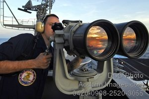 """Free Public Domain Picture: Seaman Using the """"Big Eyes"""" Binoculars on an Aircraft Carrier Photo"""