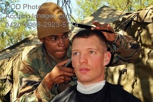Free Public Domain Picture: Soldier Giving Another Soldier a Crewcut  Haircut Photo