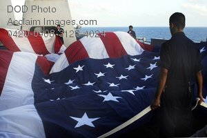 Free Public Domain Picture: Sailors on the USS San Antonio Folding a 30-Ft American Flag Photo