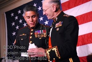 Free Public Domain Picture: Marine Corps General Presenting an Award To a Staff Sgt Photo