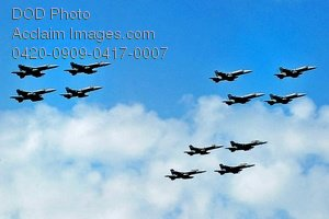 Free Public Domain Picture: Jets From the Carrier Air Wing 8 Group Flying In Formation Photo