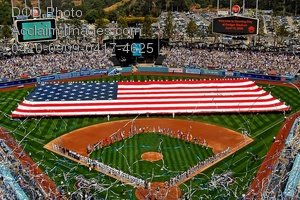 Free Public Domain Picture: Football Field Size Flag in Dodger Stadium Photo