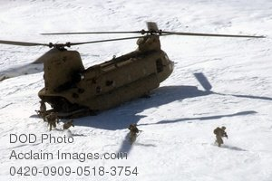 Free Public Domain Picture: Soldiers Exiting a CH-47 Chinook Helicopter In Afghanistan Photo