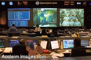 Photo Clip Art of The Shuttle Flight Control Room in Houston, TX