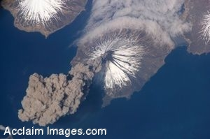 Clip Art Photo of the Eruption of the Cleveland Volcano in the Aleutian Islands