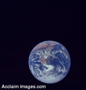 Photo Clip Art  of Earth From Space - The Big Blue Marble 12/7/1972
