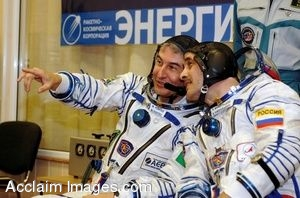 Clip Art Photo of Astronauts Marcos Pontes and Pavel V. Vinogradov